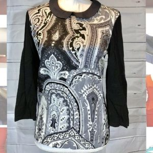J. McLaughlin Black Gray Collared Top Paisley